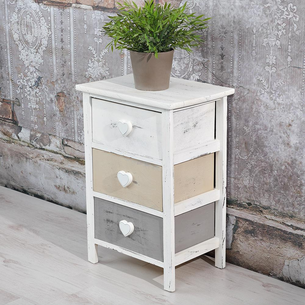 kommode 3 schubladen grau wei shabby highboard schubladenschrank herz neu ebay. Black Bedroom Furniture Sets. Home Design Ideas