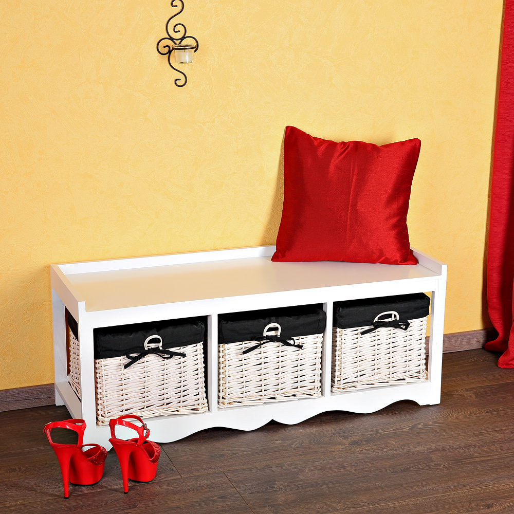 100cm sitzbank mit 3 k rben holzbank sitztruhe kissen wei truhenbank schwarz ebay. Black Bedroom Furniture Sets. Home Design Ideas