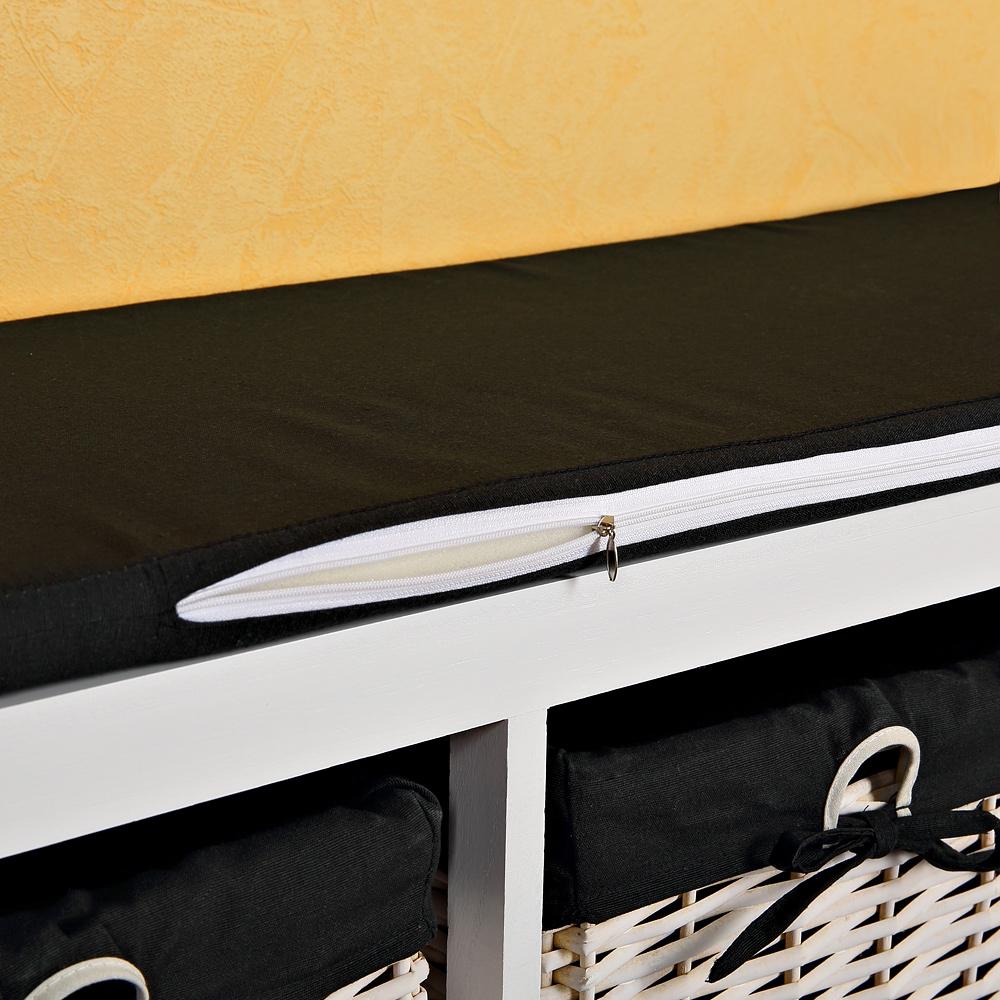 100cm sitzbank mit 3 k rben holzbank sitztruhe kissen wei. Black Bedroom Furniture Sets. Home Design Ideas