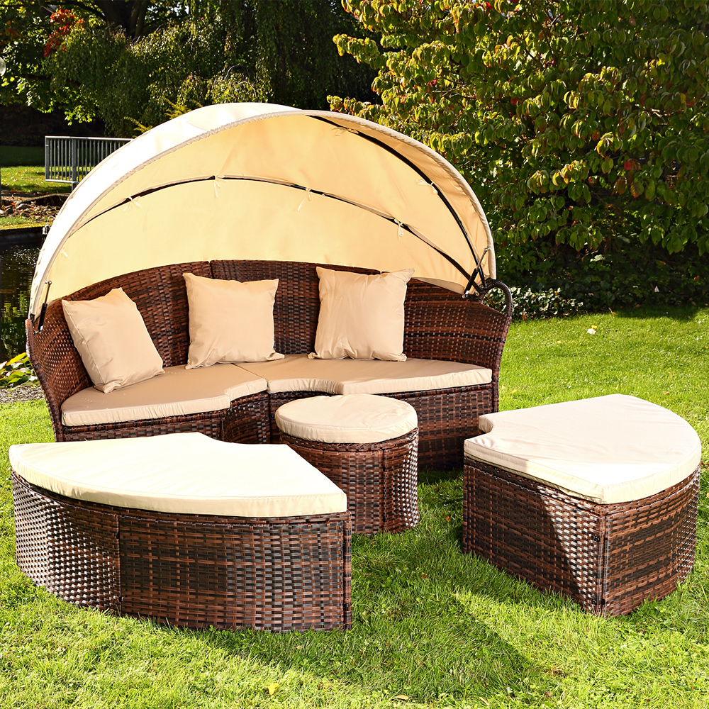 sonneninsel tisch rattan polyrattan gartenmuschel sonnenliege braun schwarz ebay. Black Bedroom Furniture Sets. Home Design Ideas