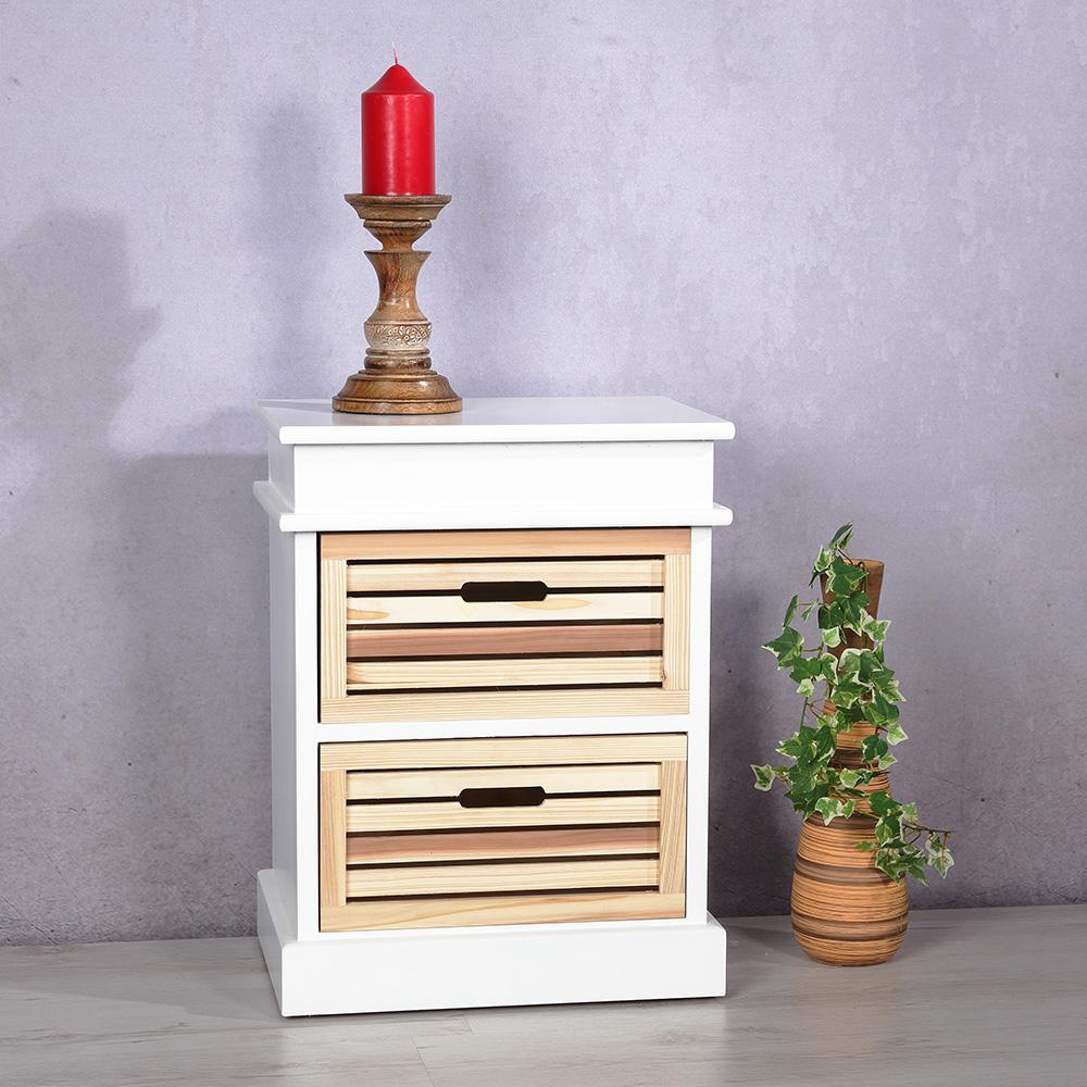 kommode beistelltisch holz anrichte in wei braun 2 schubladen regal schr nkchen ebay. Black Bedroom Furniture Sets. Home Design Ideas
