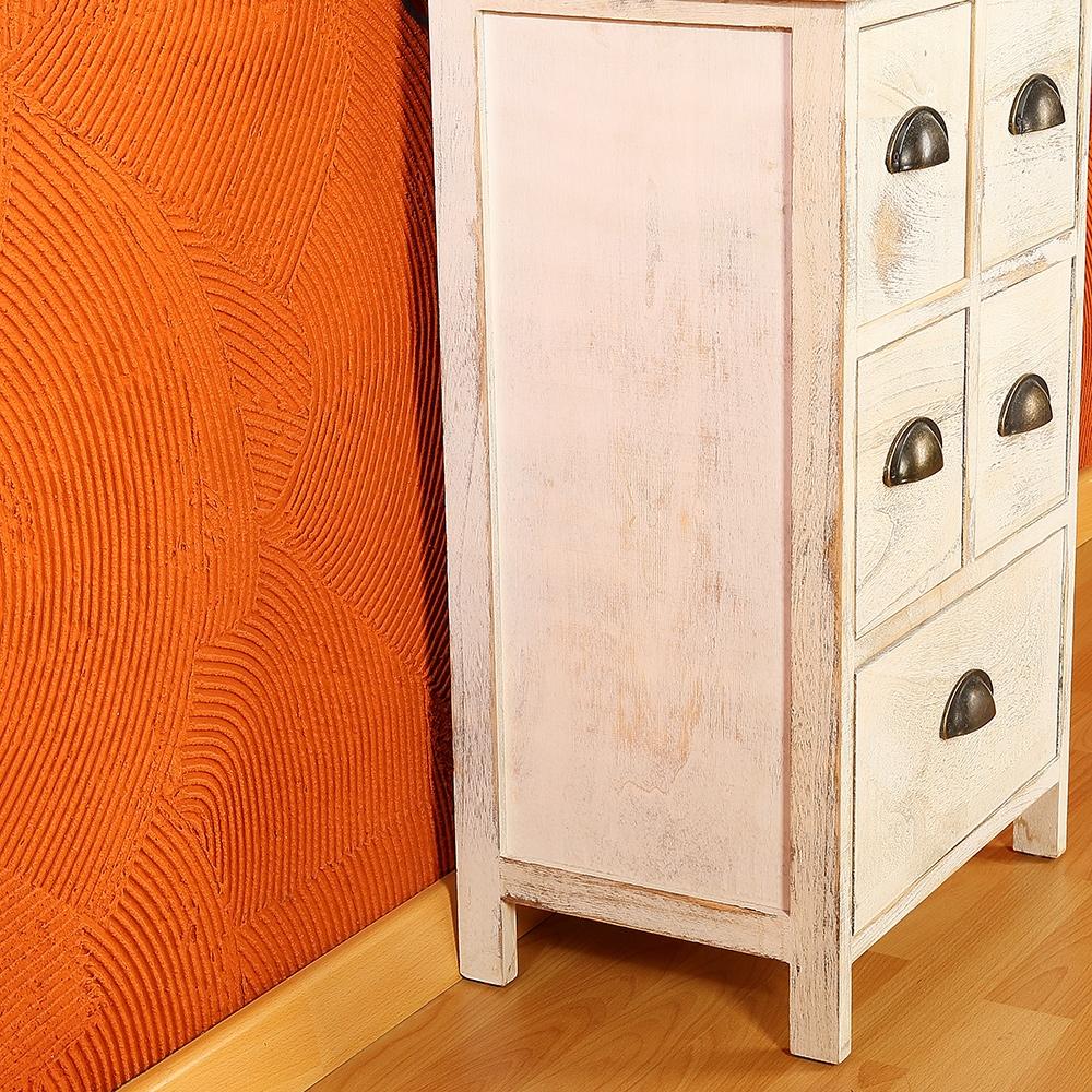 anrichte in wei shabby chic mit 5 schubladen konsole schrank kommode antikoptik ebay. Black Bedroom Furniture Sets. Home Design Ideas