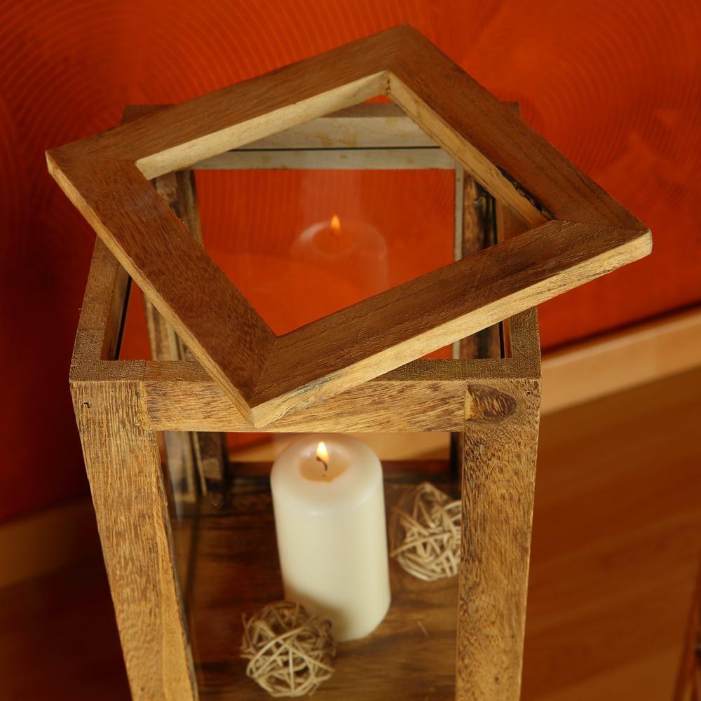 3 tlg set laterne braun windlicht s ulen rustica kerze holzlaterne windlichtset ebay. Black Bedroom Furniture Sets. Home Design Ideas