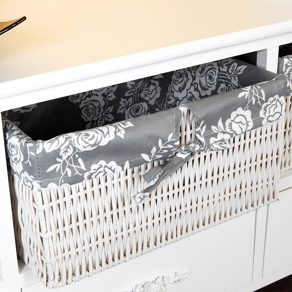 lowboard landhaus kommode schrank sideboard flur bad regal 3 k rben weiss grau ebay. Black Bedroom Furniture Sets. Home Design Ideas