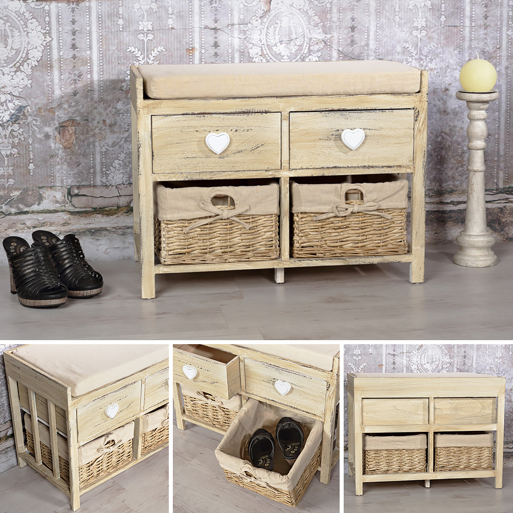 sitzbank holzbank mit herz deko shabby stil in braun truhe. Black Bedroom Furniture Sets. Home Design Ideas