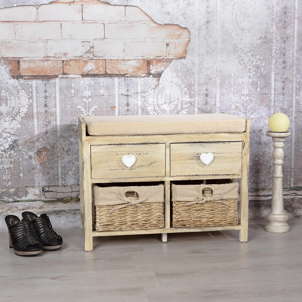 sitzbank holzbank mit herz deko shabby stil in braun truhe. Black Bedroom Furniture Sets. Home Design Ideas