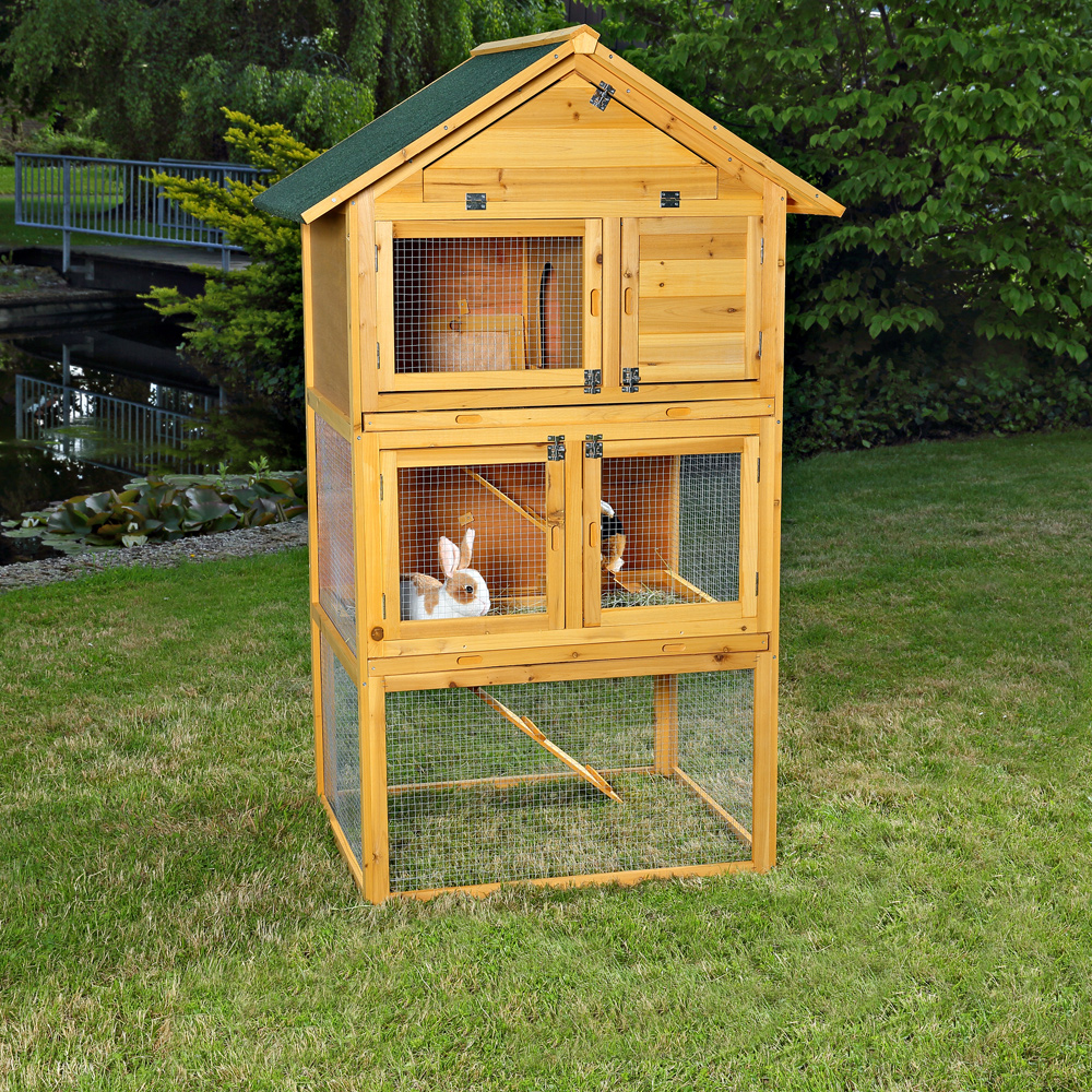 3 Ebenen Käfige & Gehege aus Holz für Kaninchen günstig kaufen | eBay