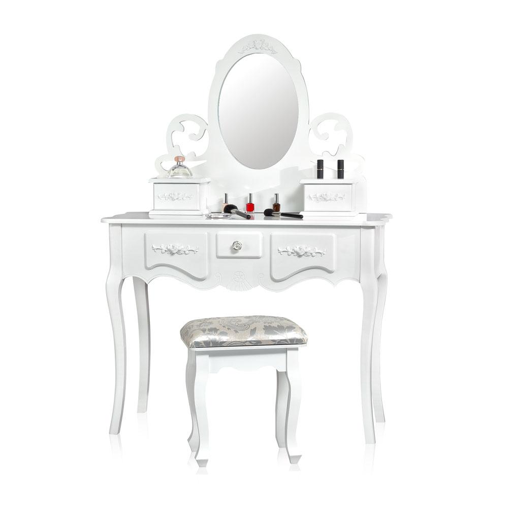 schminktisch mit 3 spiegel hocker frisierkommode spiegelaufsatz kosmetiktisch ebay. Black Bedroom Furniture Sets. Home Design Ideas