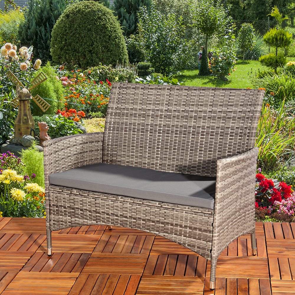 poly rattan gartenbank in grau sitzpolster sitzbank rattanbank sitzbezug sofa ebay. Black Bedroom Furniture Sets. Home Design Ideas