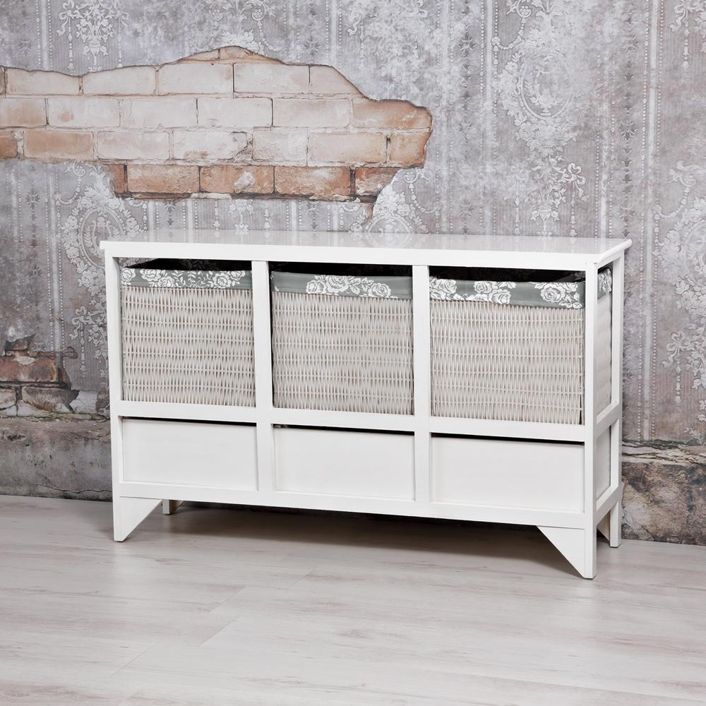 Sideboard Konsole Schubladen + Körbe in Weiß Landhaus Flur Schrank Kommode Holz eBay