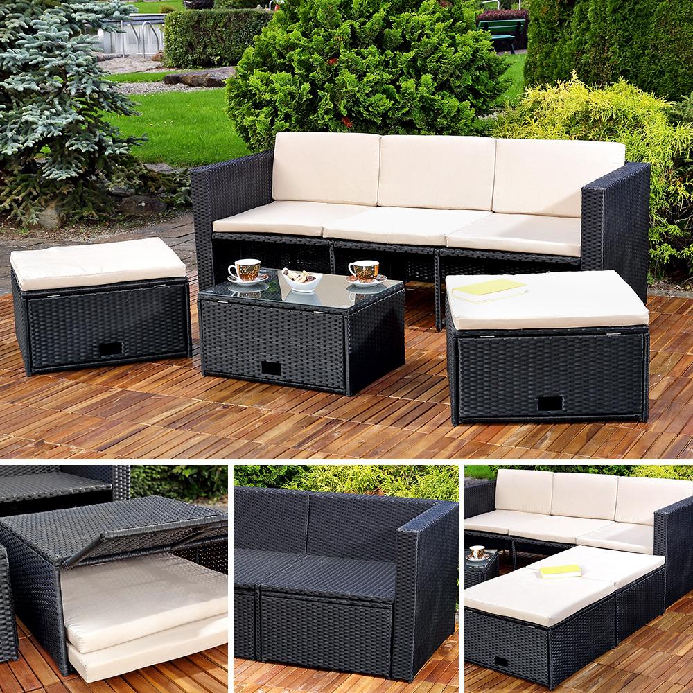 Polyrattan garnitur lounge set sitzm bel schwarz ebay for Ofertas muebles de terraza