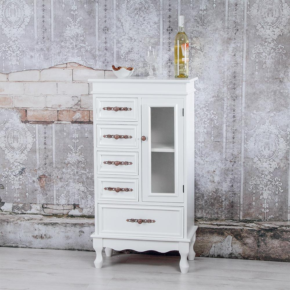 Sideboard Mit Glastür Vitrine Wohnzimmer Schrank Weiß Holz