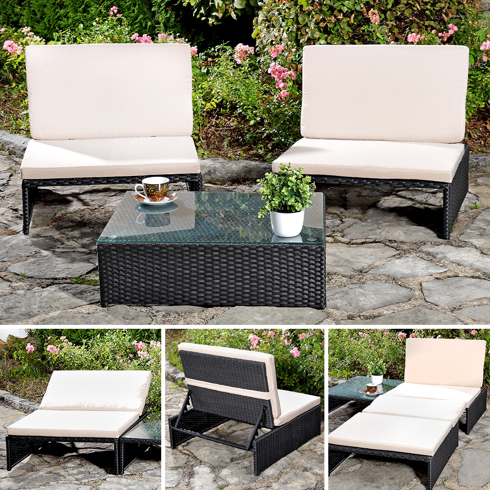 Lounge Sitzgarnitur Gartenset Gartenmöbel Gartensitzgruppe 2 Sessel