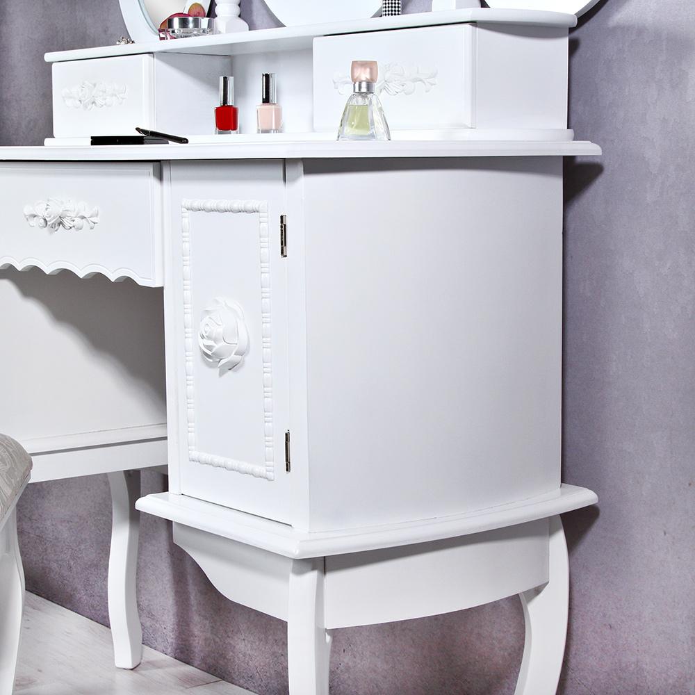 landhaus frisiertisch spiegel hocker schminktisch schminkkommode wei kosmetik ebay. Black Bedroom Furniture Sets. Home Design Ideas
