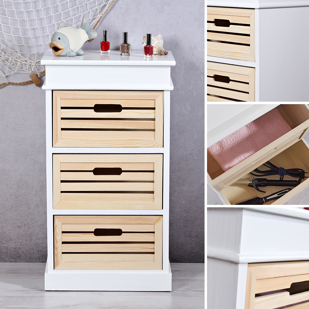stehregal landhaus 3 schubf cher holzregal anrichte kommode wandschrank neu ebay. Black Bedroom Furniture Sets. Home Design Ideas