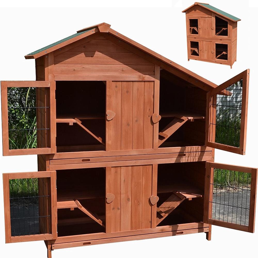 hasenstall holz 4 boxen freigehege kaninchenstall hasenk fig kleintierstall xxl ebay. Black Bedroom Furniture Sets. Home Design Ideas