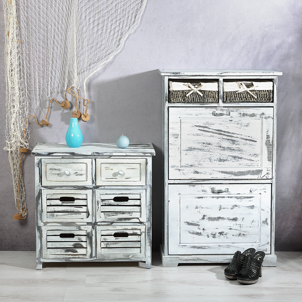 schuhkommode schuhschrank 2 k rbe dielen flur schrank vintage shabby chic 4250357372930 ebay. Black Bedroom Furniture Sets. Home Design Ideas