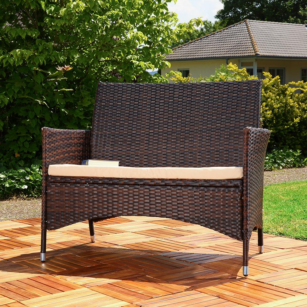 gartenbank rattan schwarz braun mit auflage sitzbank polyrattan sitzkissen sofa ebay. Black Bedroom Furniture Sets. Home Design Ideas