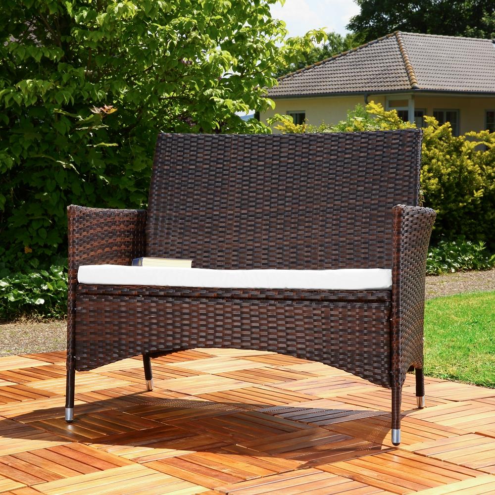 polyrattan gartenbank mit auflage sitzbank polyrattan. Black Bedroom Furniture Sets. Home Design Ideas