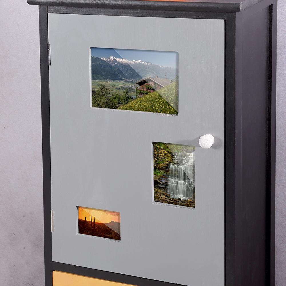 highboard mit fotohalter wohnzimmerschrank kommode schrank schwarz bilderrahmen ebay. Black Bedroom Furniture Sets. Home Design Ideas