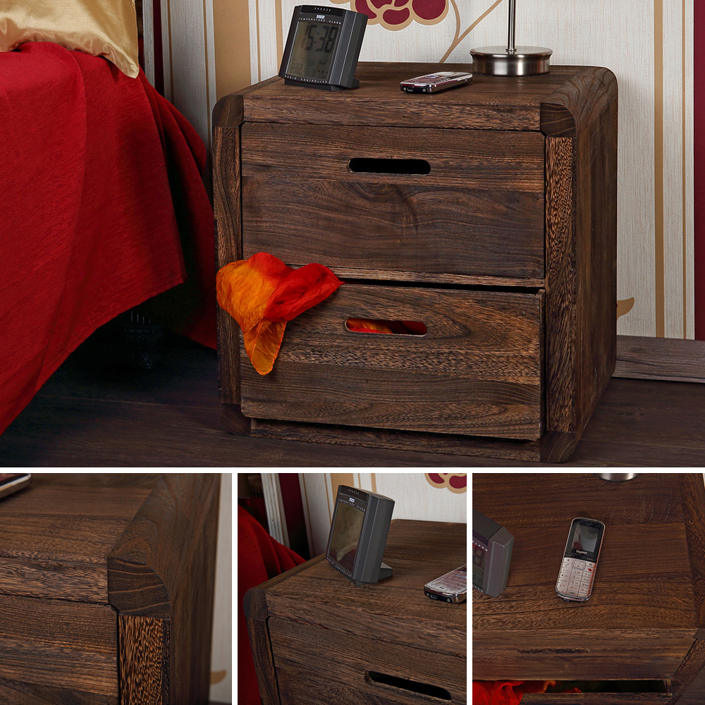 3 tlg schubladen tisch nachtschrank nachttisch holz konsole shabby braun m05 ebay. Black Bedroom Furniture Sets. Home Design Ideas