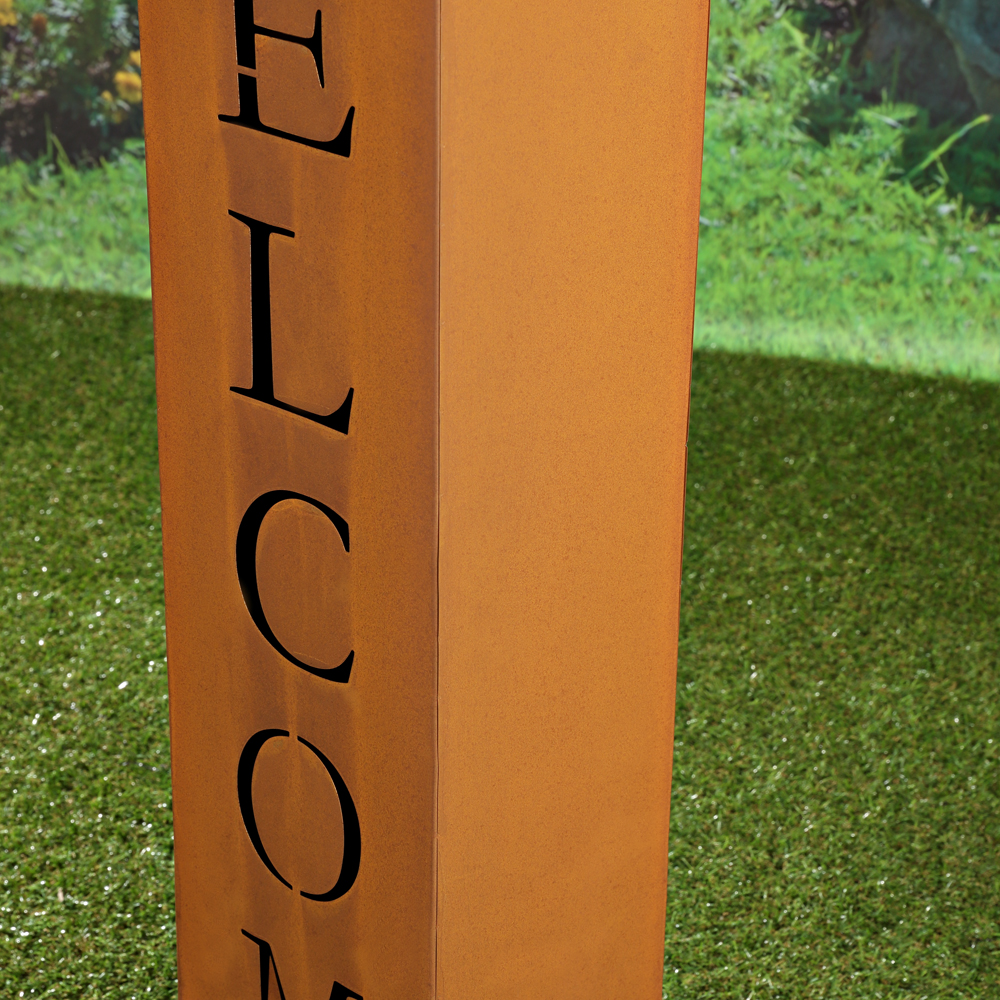 100cm deko garten metalls ule welcome edelrost optik pflanzs ule rost dekoration ebay - Metallsaule garten ...