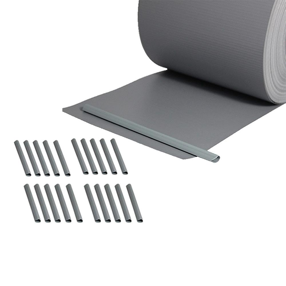 65m pvc zaunfolie hellgrau sichtschutz rolle blickdicht doppelstabmatten zaun ebay. Black Bedroom Furniture Sets. Home Design Ideas
