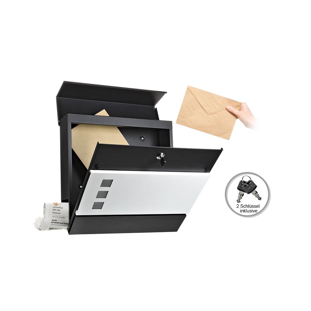 Briefkasten Wandbriefkasten Mailbox schwarz Weiß Design Postkasten Letter Anlage