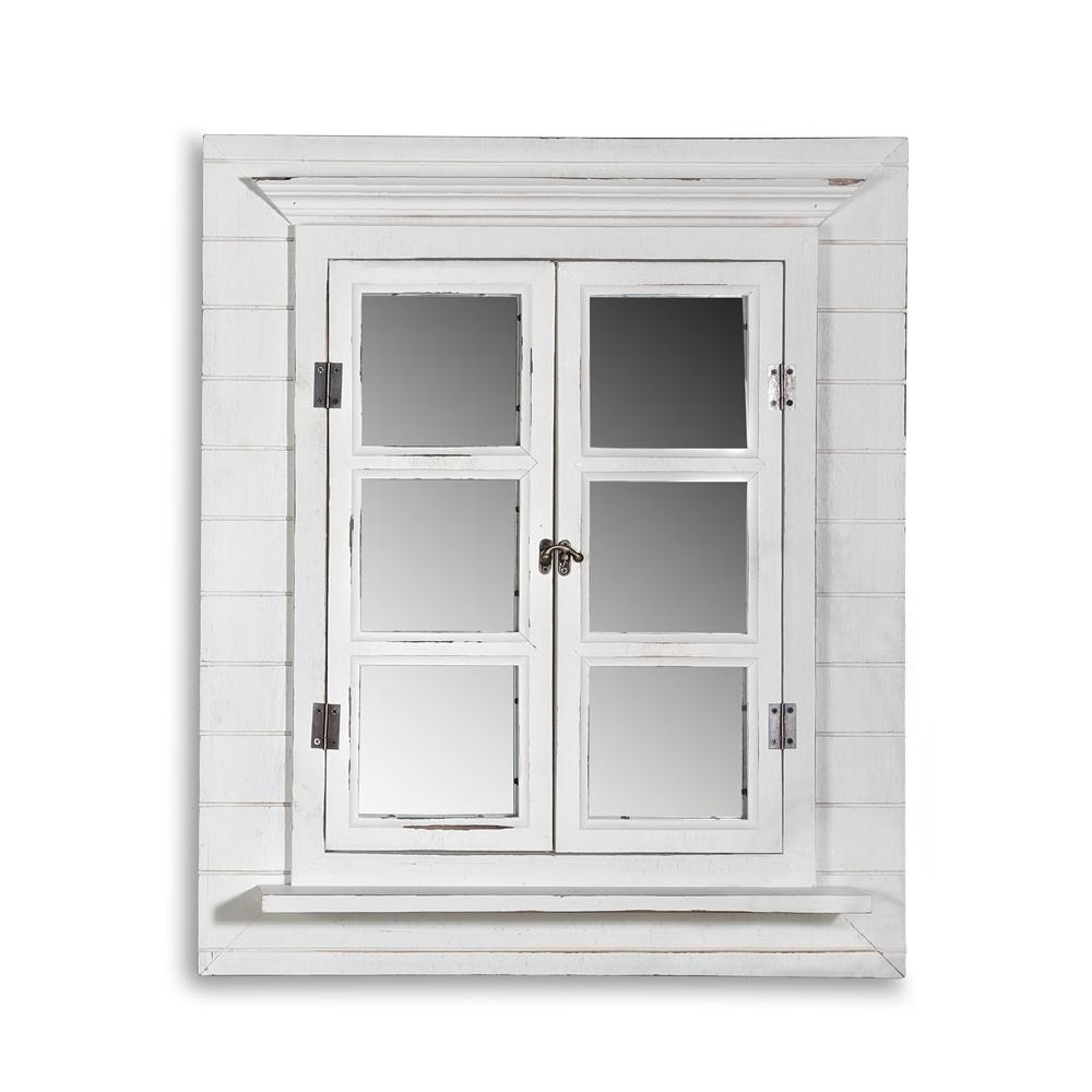 melko deko spiegel fensterladen shabby holz rundbogen landhaus wandspiegel ebay. Black Bedroom Furniture Sets. Home Design Ideas