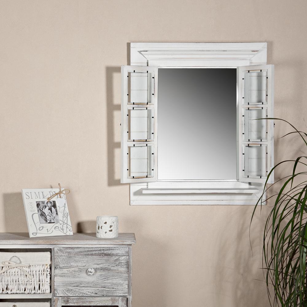 deko spiegel fensterladen shabby holz spiegel rundbogen. Black Bedroom Furniture Sets. Home Design Ideas