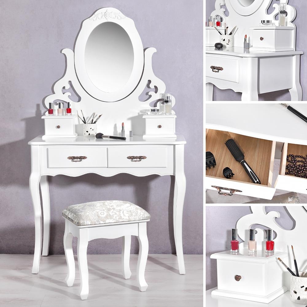 vintage schminktisch mit hocker in wei kosmetiktisch. Black Bedroom Furniture Sets. Home Design Ideas