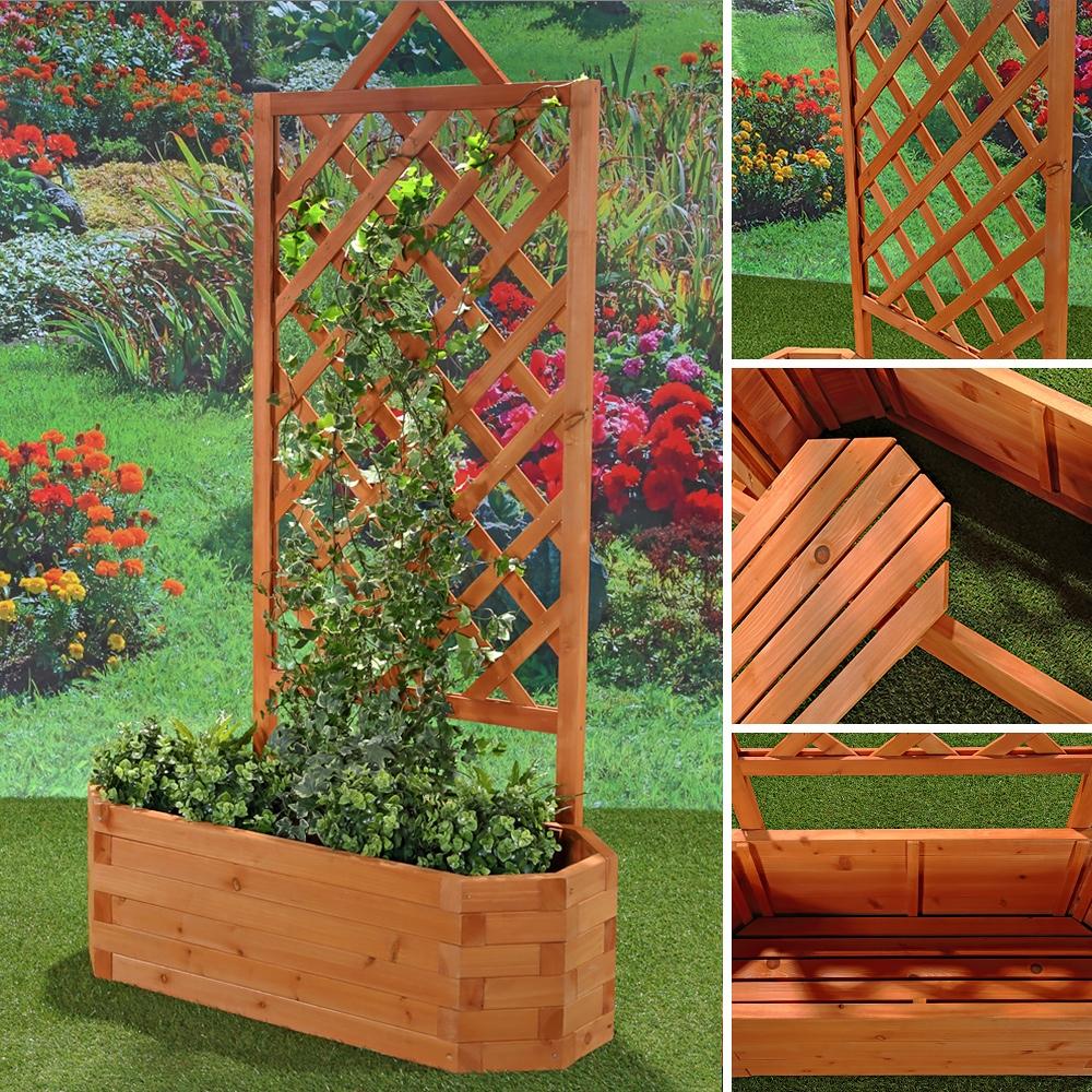 Jardiniere En Bois Pflanzkasten Banc De Jardin 2 In 1 Bac A Fleurs