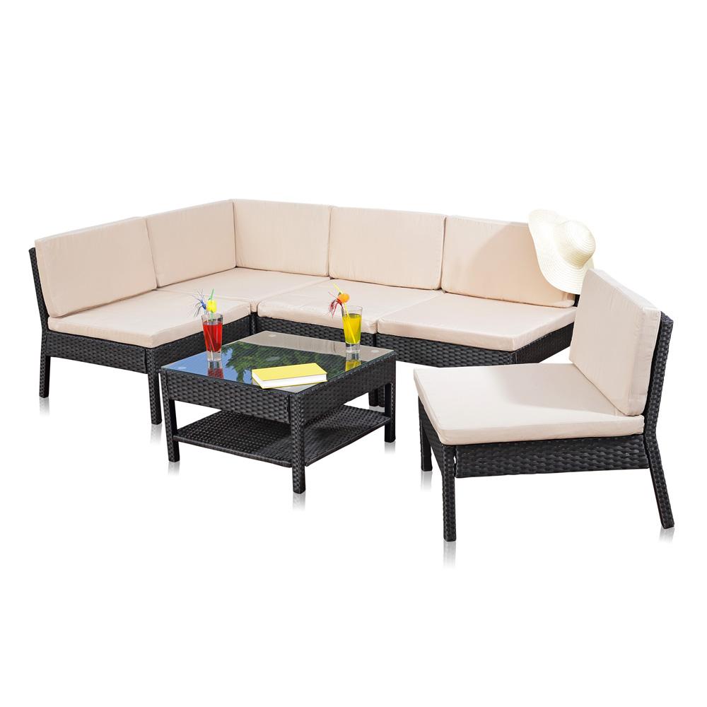 Melko® Gartenset Sitzgarnitur Ecksofa + Tisch Auflagen Gartenmöbel ...