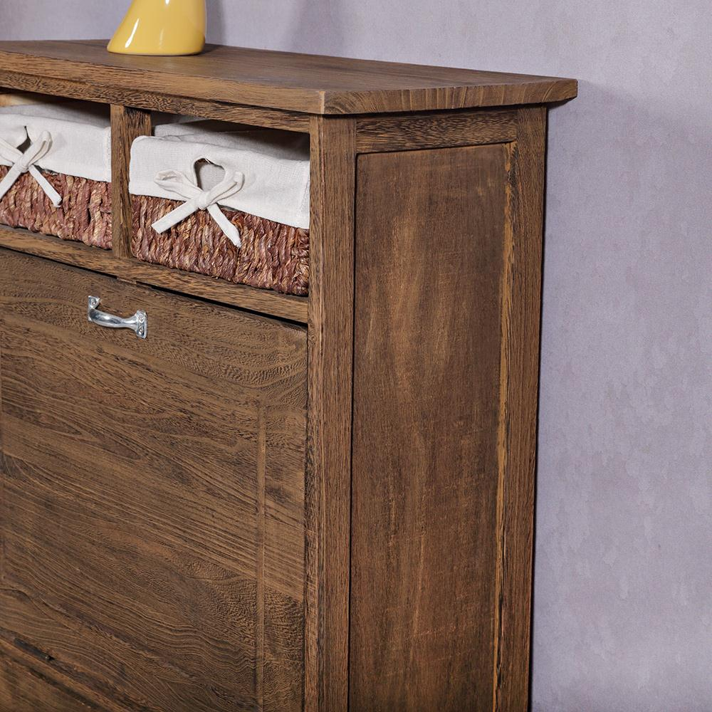 schuhschrank shabby schuhkommode 2 k rbe dielen flur schrank vintage braun ebay. Black Bedroom Furniture Sets. Home Design Ideas