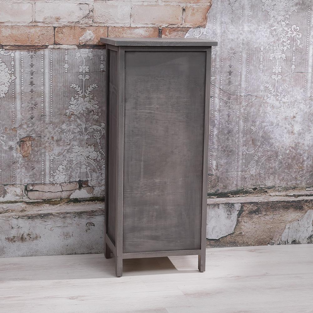 schrank regal mit 1 korbschublade t r lamellen flurregal bad wei anrichte ebay. Black Bedroom Furniture Sets. Home Design Ideas