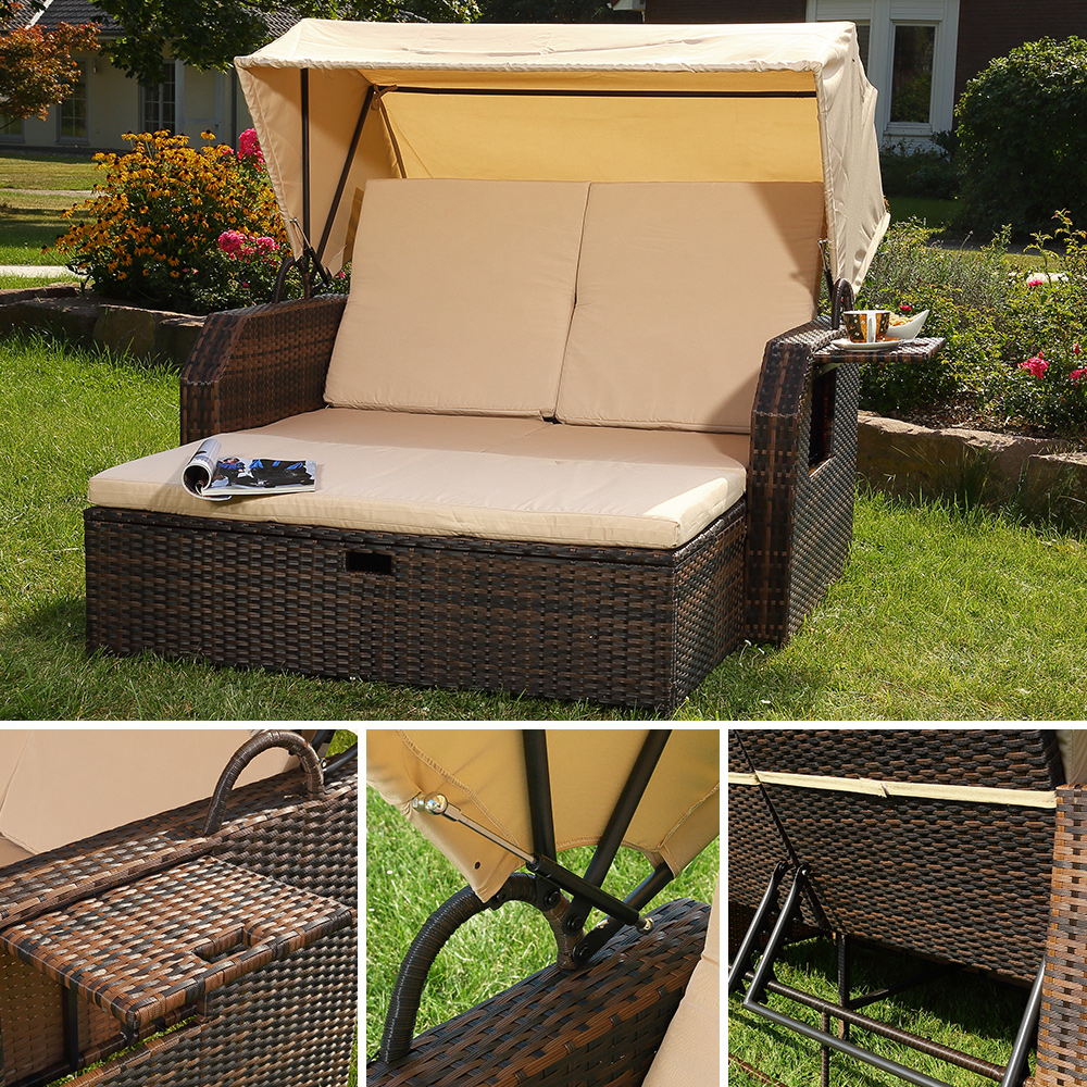 gartenliege polyrattan bett in braun inkl sonnendach. Black Bedroom Furniture Sets. Home Design Ideas