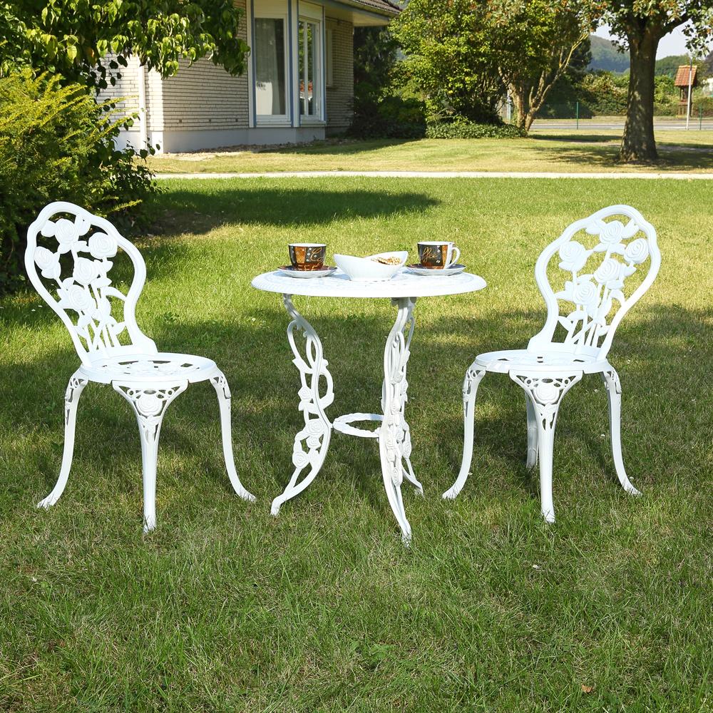 garten essgruppe tisch zwei sitzhocker bistro set gartenm bel wei gusseisen ebay. Black Bedroom Furniture Sets. Home Design Ideas