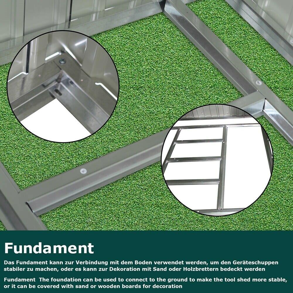 metall gartenhaus mit schiebet r ger teschuppen. Black Bedroom Furniture Sets. Home Design Ideas