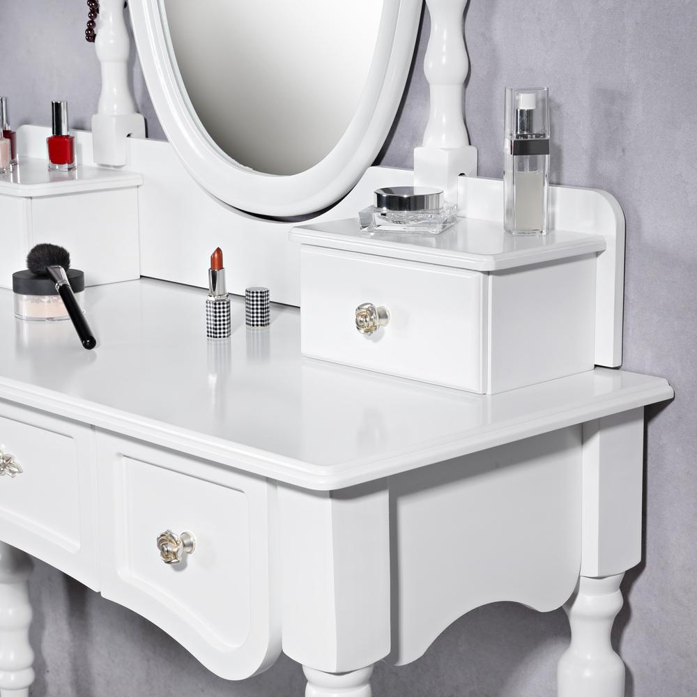 design schminktisch polsterhocker rund wei frisierkommode kosmetiktisch konso ebay. Black Bedroom Furniture Sets. Home Design Ideas
