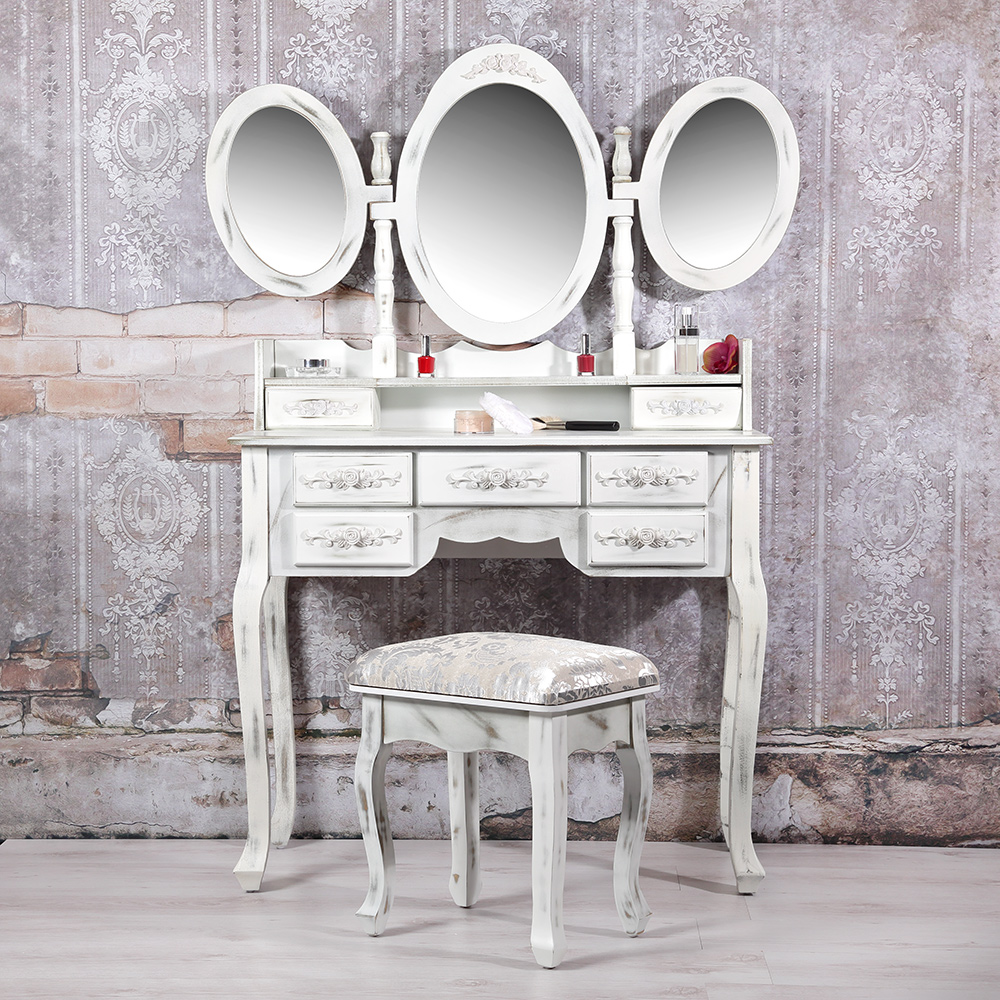 shabby schminktisch mit hocker wei kosmetiktisch frisierkommode spiegelkommode ebay. Black Bedroom Furniture Sets. Home Design Ideas