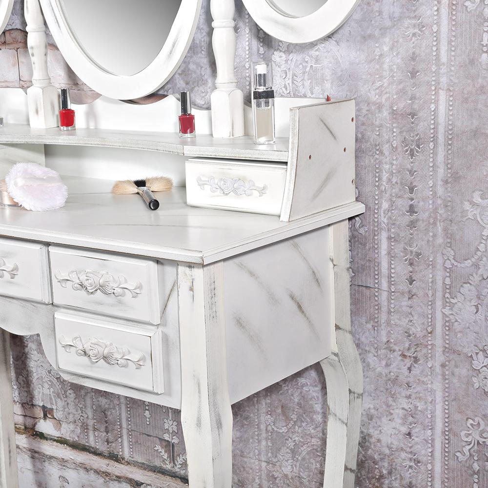 frisierkommode 3 spiegel polsterhocker schminktisch frisiertisch kosmetiktisch ebay. Black Bedroom Furniture Sets. Home Design Ideas