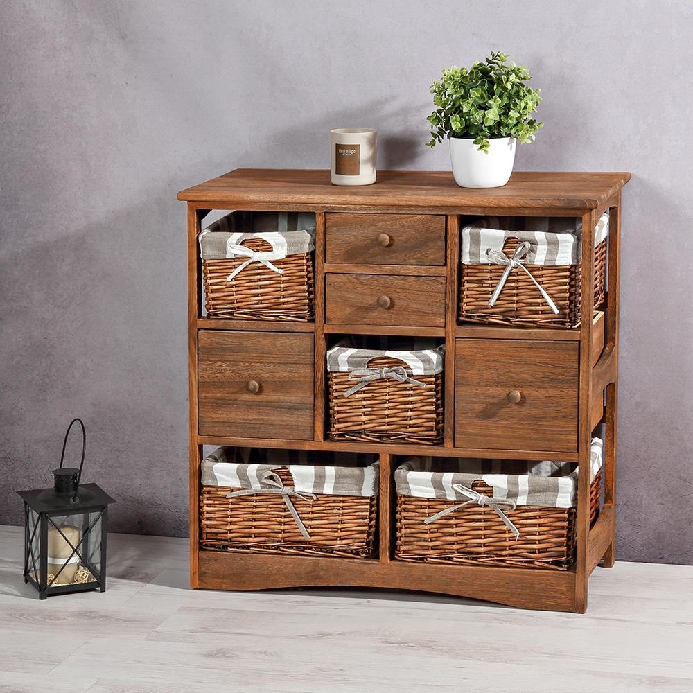 landhaus kommode 5 k rben 4 schubladen shabby schrank braun anrichte regal ebay. Black Bedroom Furniture Sets. Home Design Ideas