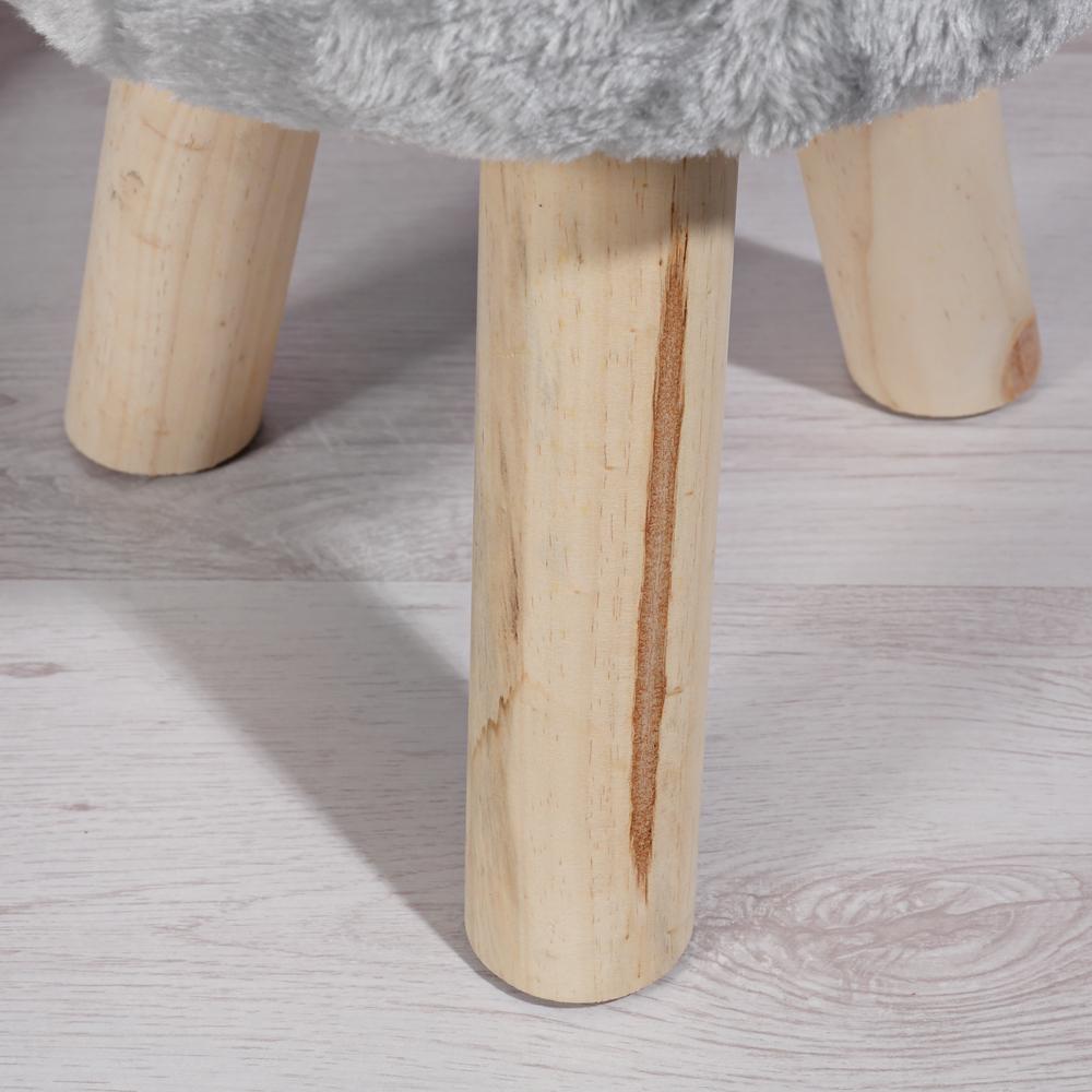 40cm fell sitzhocker rund in grau polsterhocker. Black Bedroom Furniture Sets. Home Design Ideas