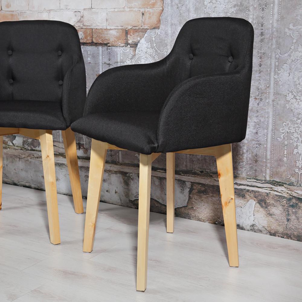 2er set design esszimmerstuhl armlehne schwarz for Stuhl schwarz