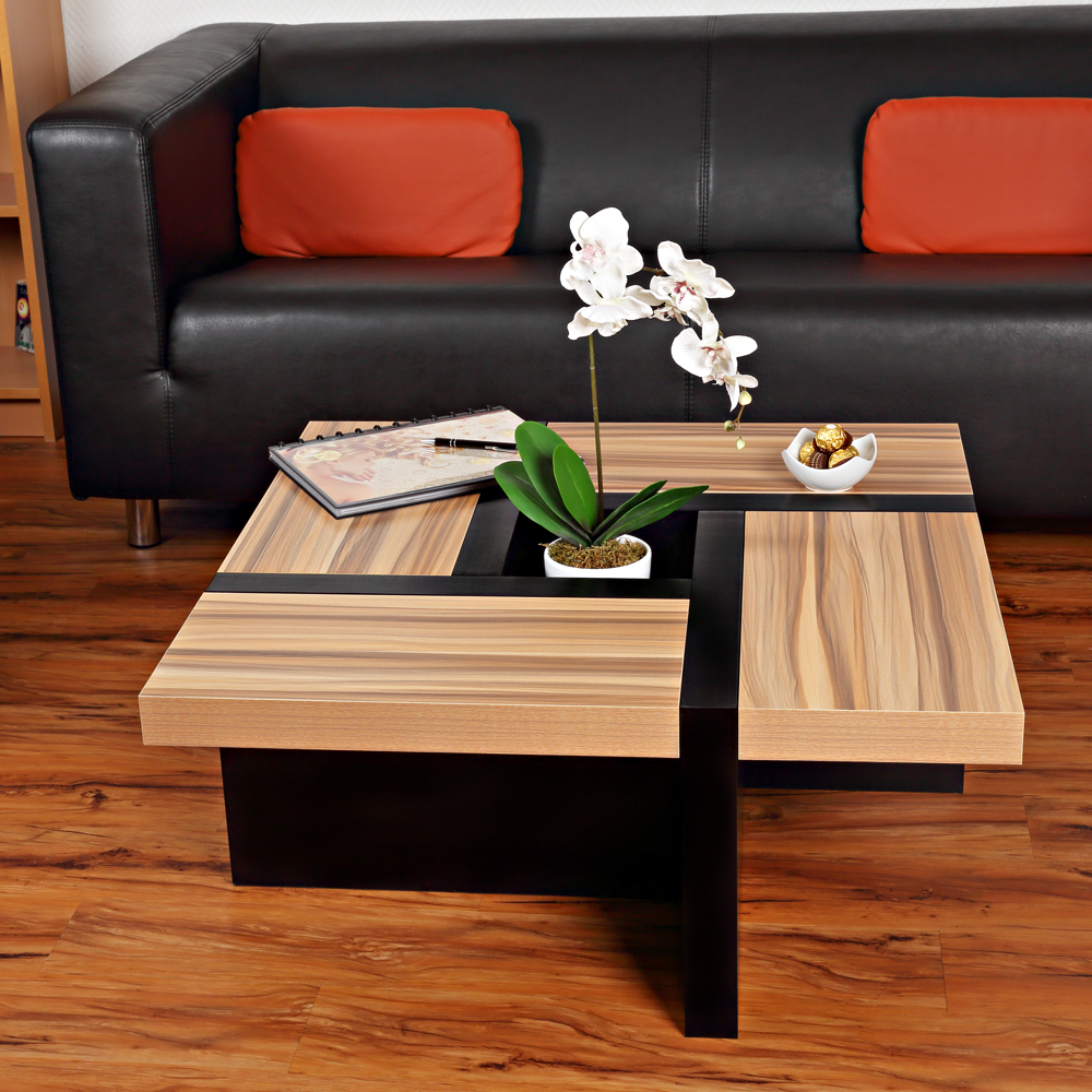 wohnzimmertisch braun schwarz couchtisch beistelltisch designertisch holz tisch ebay. Black Bedroom Furniture Sets. Home Design Ideas