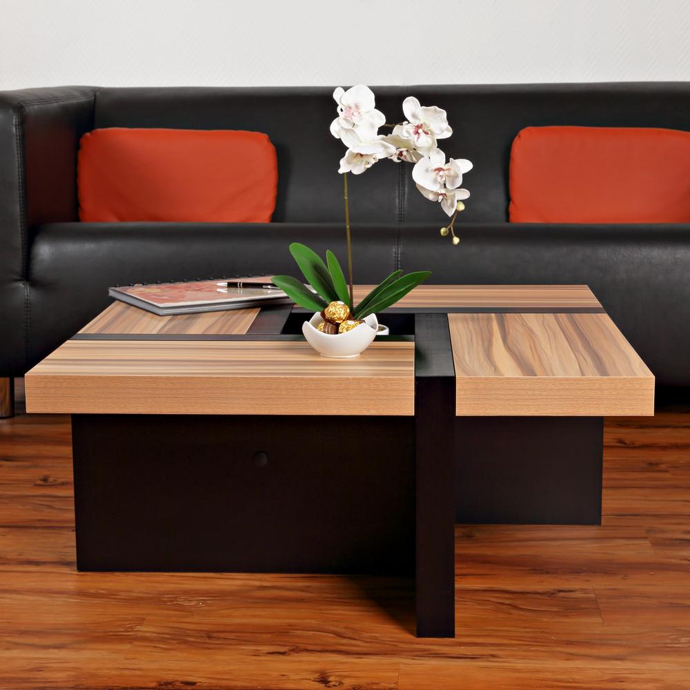 couchtisch beistelltisch wohnzimmertisch designertisch holztisch braun schwarz ebay. Black Bedroom Furniture Sets. Home Design Ideas