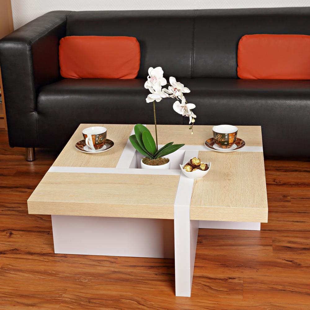 wohnzimmertisch couchtisch beistelltisch tisch braun wei 80x80 sofatisch holz ebay. Black Bedroom Furniture Sets. Home Design Ideas