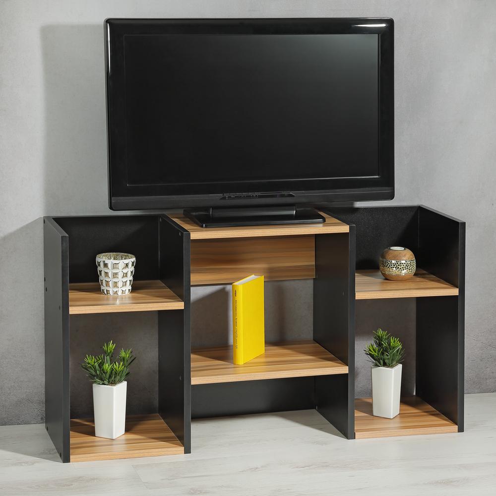 fernsehtisch wandregal holz schwarz braun standregal tv board mit ablagef chern ebay. Black Bedroom Furniture Sets. Home Design Ideas