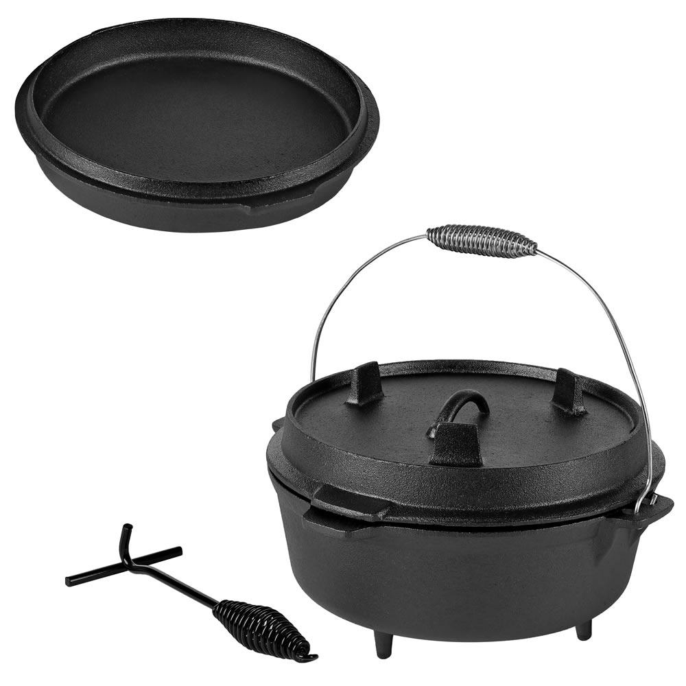 4,5 QT Dutch Oven Feuerkessel Deckelheber Gusseisen Kessel Bräter Camping BBQ