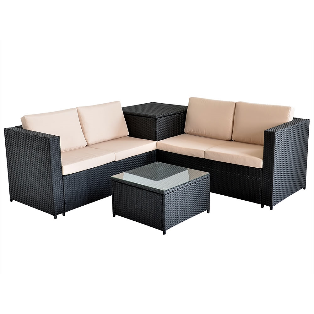 rattan lounge tisch und kissenbox in schwarz garten sofa lounge gartenm bel ebay. Black Bedroom Furniture Sets. Home Design Ideas